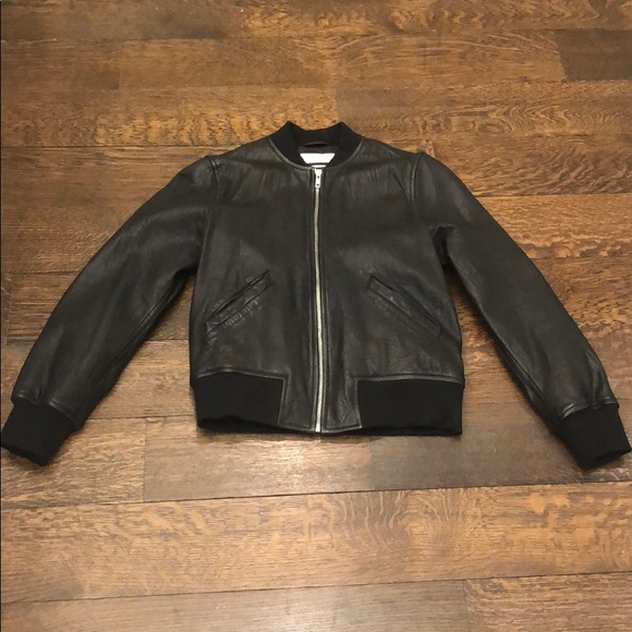 d4f65b4d0 Black Leather Isabel Morant Etoile Bomber Jacket